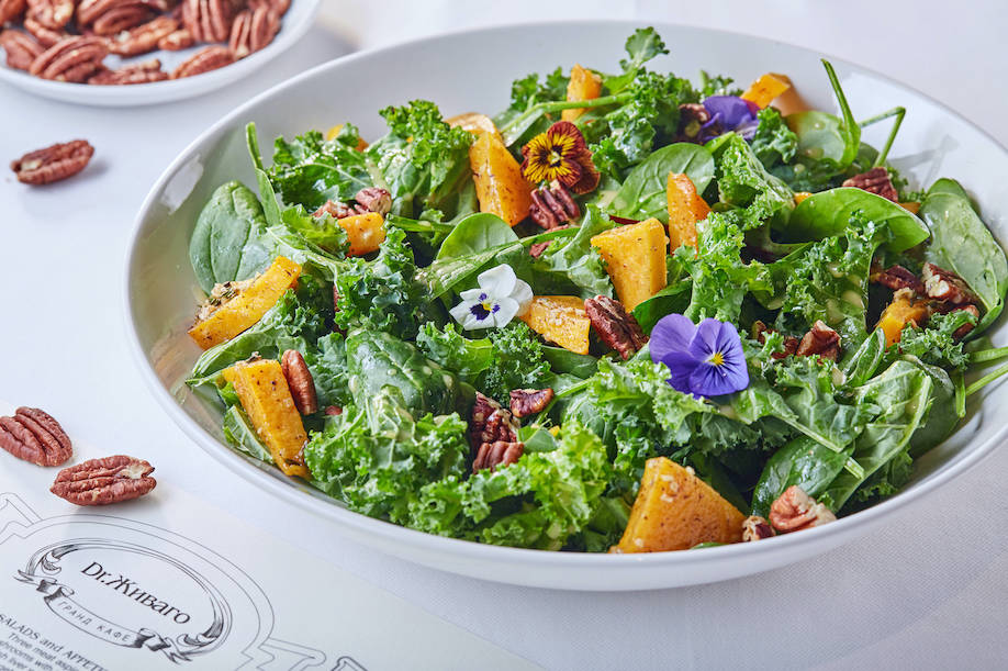 Zhivago Salat s pechenoy tykvoy v imbirnom souse 1 - Новое меню московских ресторанов в феврале