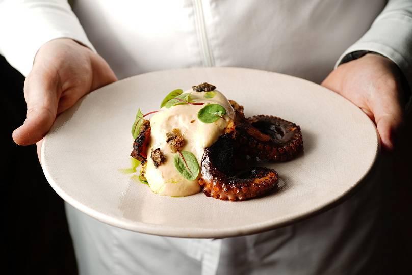 Leveldva Hands Octopus  baked vegetables  soy berblan - Москва. Майские предложения ресторанов